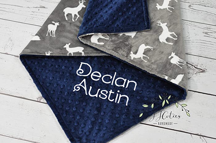 0a6e1f9695a92 Amazon.com  Personalized Woodland baby blanket-Personalized Deer ...