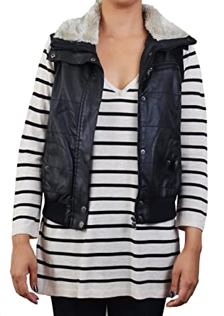 Outerwears Women's Faux Leather Bomber Vest with Faux Fur Collar ...