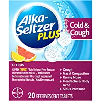 Alka-Seltzer Plus Severe Cold & Flu Medicine, Citrus Effervescent Tablets with Pain...