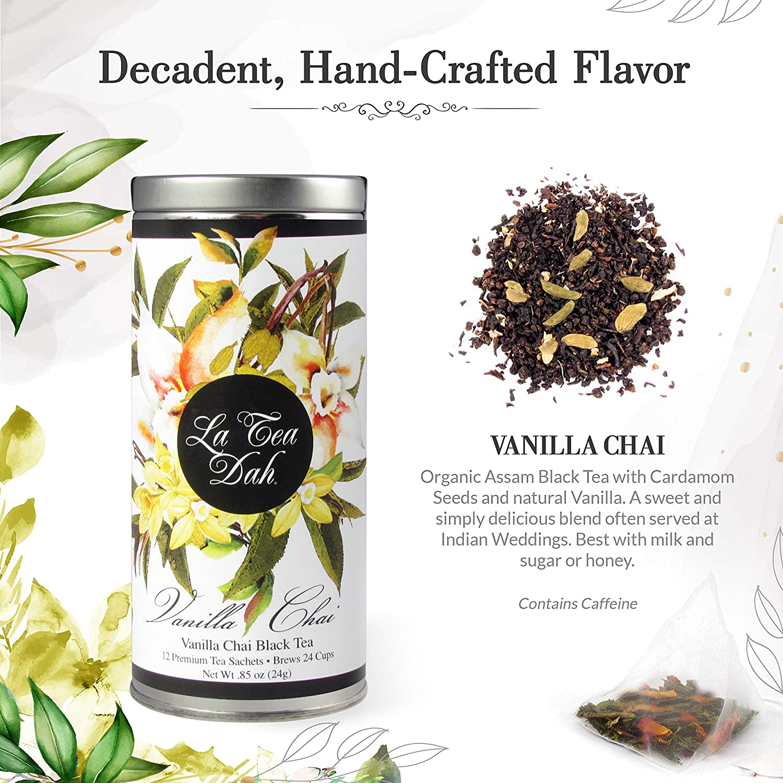 La Tea Dah Floral Series Teas - Vanilla Chai Tea: Assam Organic Black Tea with Cardamom Seeds and Natural Vanilla: Wedding Tea