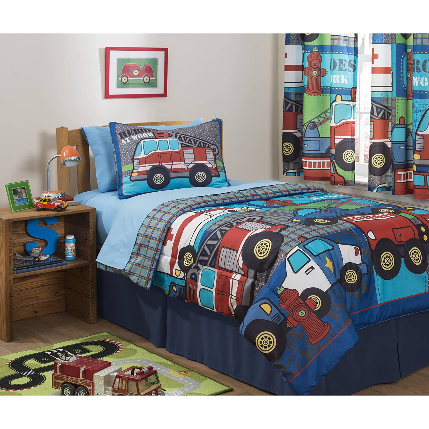 Mainstays Kids Police, Fire and Emergency Cars Heroes at Work Bedding Full Comforter Set for Boys (6 Piece in a Bag)