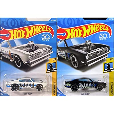 Hot Wheels King Kuda White Checkmate 362/365 and King Kuda Black Checkmate 261/365 2 Car Bundle Set: Toys & Games
