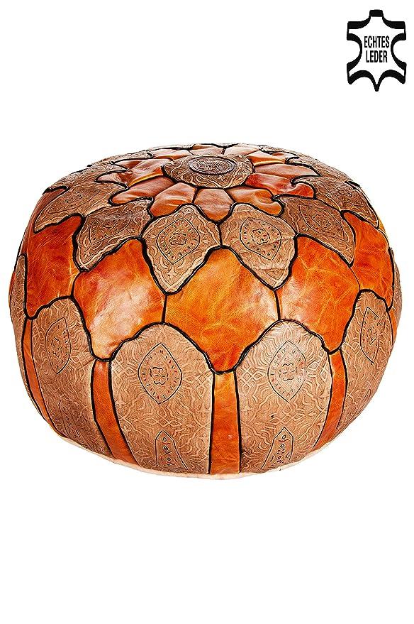 Marrakech Accessoires - Pouf redonda de piel Diámetro 60 cm ...