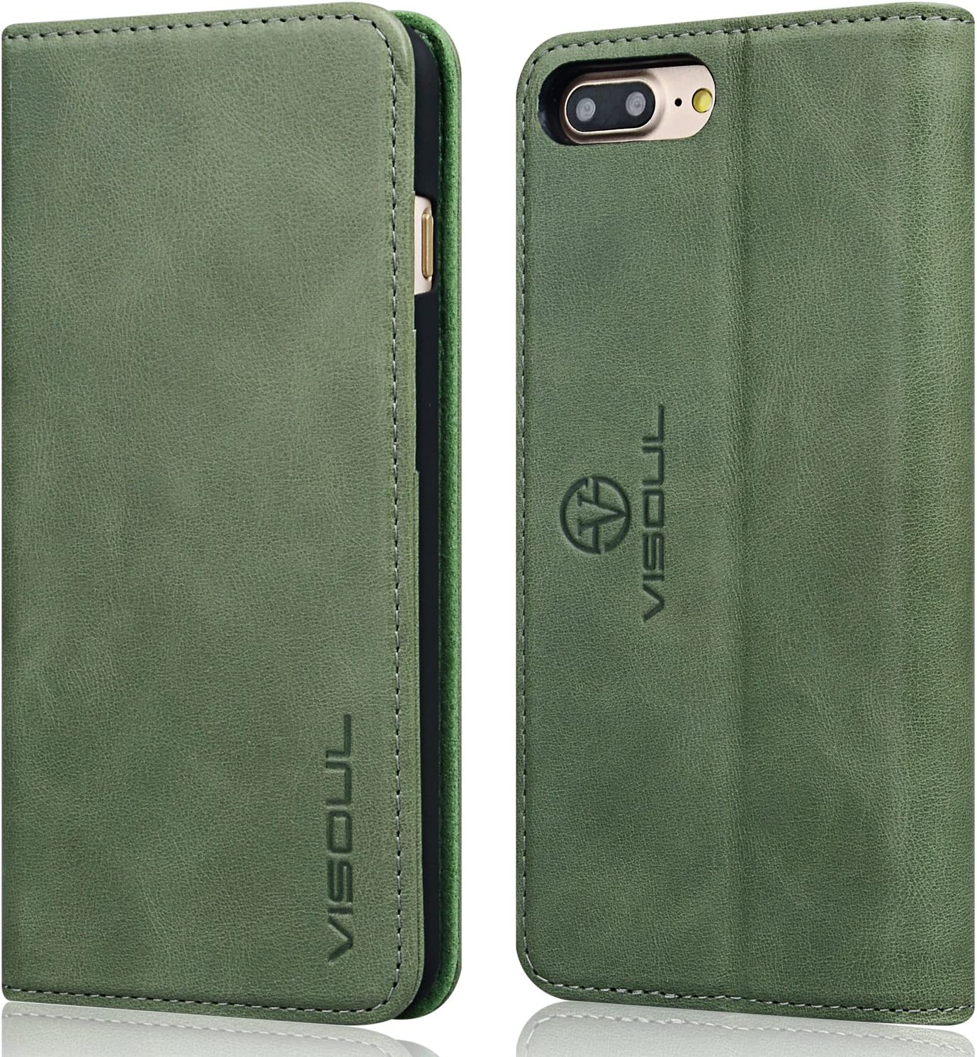 VISOUL iPhone 8 Plus / 7 Plus Leather Folio Case Wallet for Women and Men, Genuine Leather Magnetic Phone Protective Cover with Card Holder and Stand for iPhone 8+/7+ (5.5-inch) (Green)