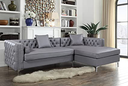 Iconic Home Da Vinci Tufted Silver Trim Grey PU Leather Right Facing  Sectional Sofa With Silver
