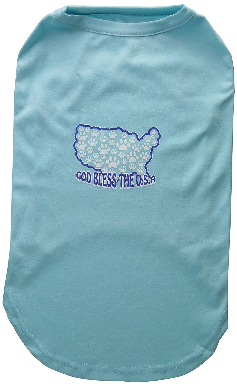 Dog   Cat   Pet Charms God Bless USA Screen Print Shirts Aqua XXXL(20)