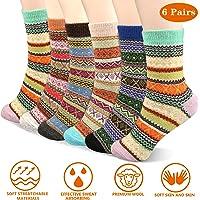 Emooqi Warme Socken, 6 Paare Mode Wolle Socken Komfort Atmungsaktive Warm Winter Damen Socken Bunte Gemusterte Stricksocken Winter Socken für Winter Outdoor und Indoor Geschenk EU 35-42