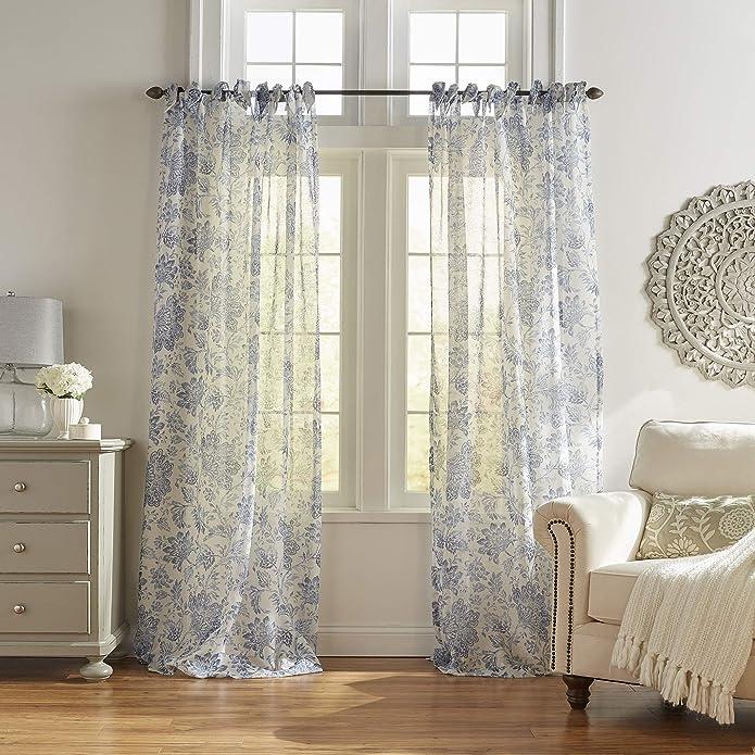 Westport Floral Tie-Top Sheer Window Curtain Panel Panel - 52u0022 x 95u0022 - Indigo - Elrene Home Fashions