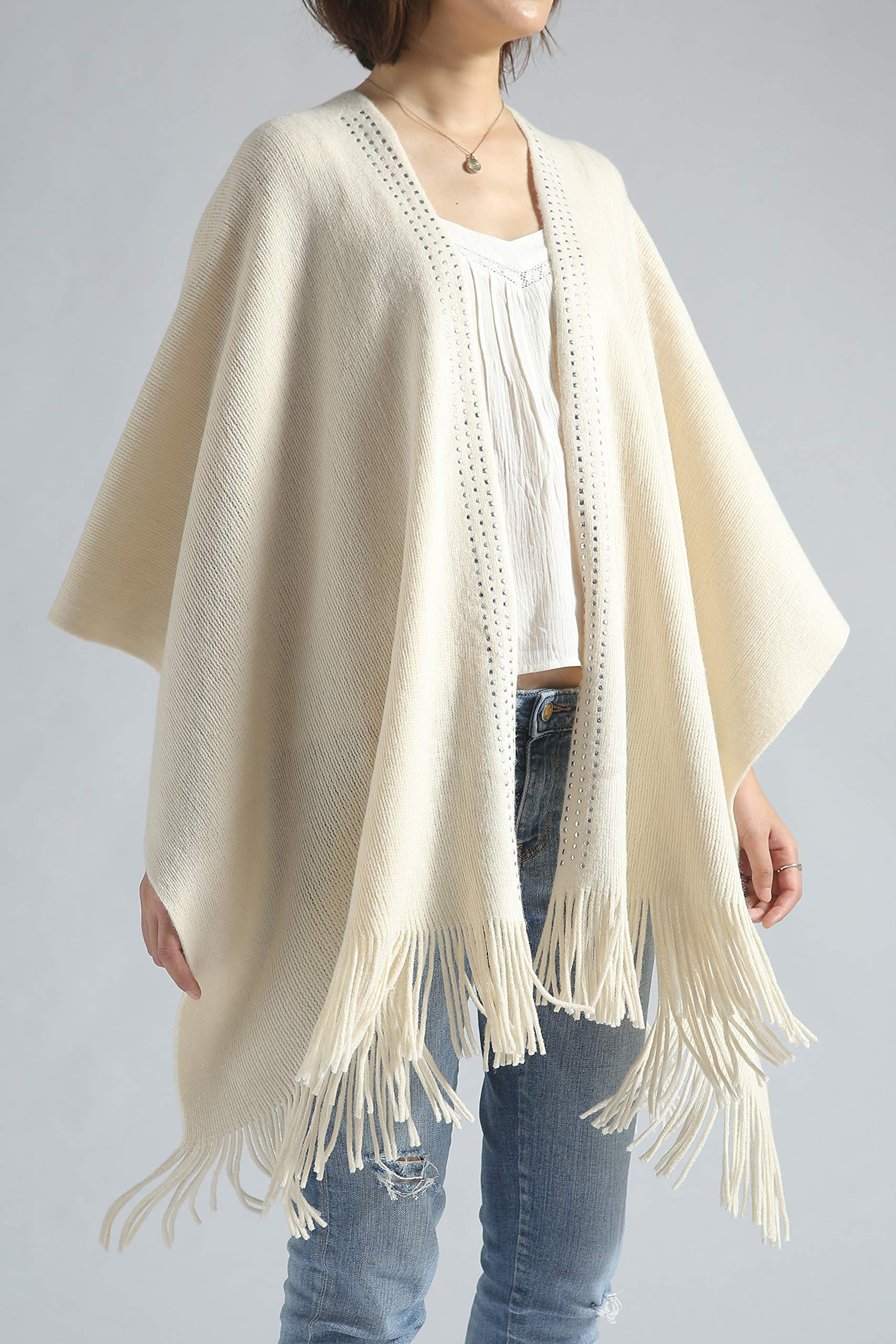 Women Poncho Shawl Cardigan Open Front Elegant Cape Wrap by Moss Rose (Image #4)