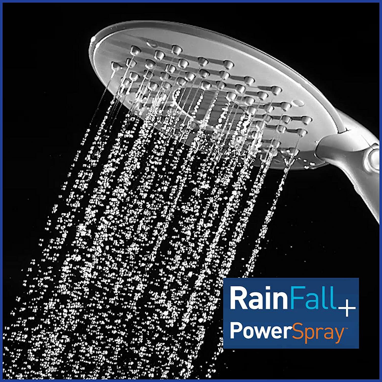 White 2.5 GPM CF-201 Flexible Neck 6-Mode Rainfall Rain Shower Waterpik Shower Head