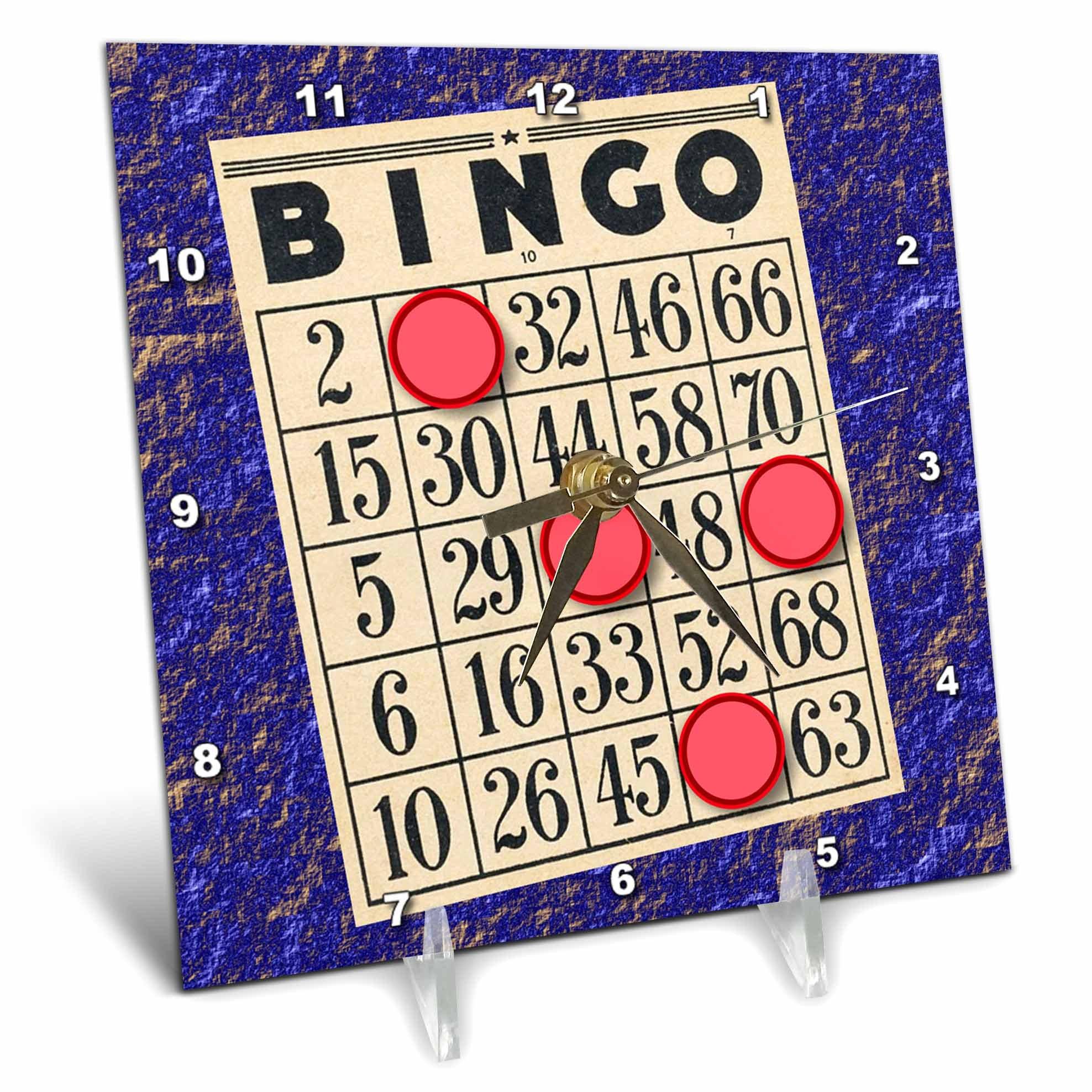 3dRose Playing Bingo Desk Clock, 6 x 6'' by 3dRose