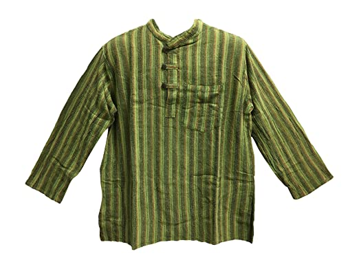 61729fd9 Men's Vintage Indian Heavy Cotton Hippie Ethnic Striped Tunic Shirt Green  (Small/Medium)
