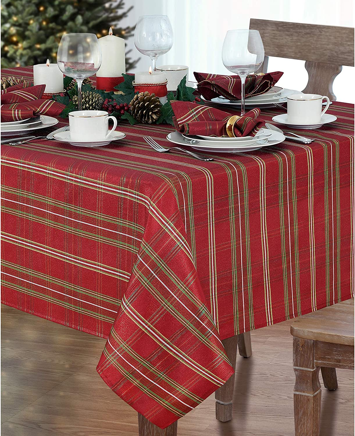 "Elrene Home Fashions Shimmering Plaid Holiday Fabric Tablecloth, 60"" x 120"", Red"
