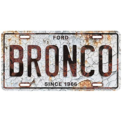 HangTime Ford Bronco Metal License Plate 6 x 12 with Rust Background: Automotive