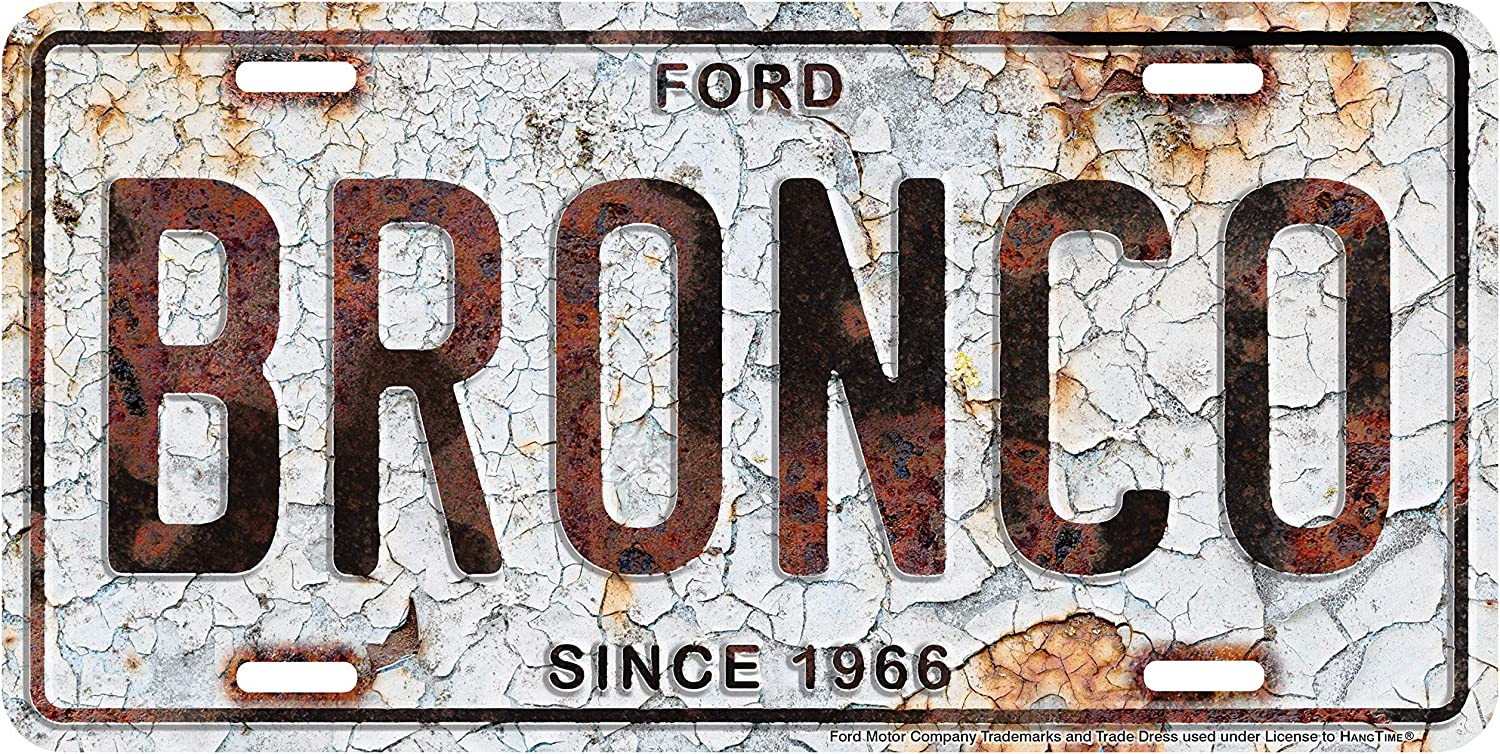 HangTime Ford Bronco Metal License Plate 6 x 12 with Rust Background