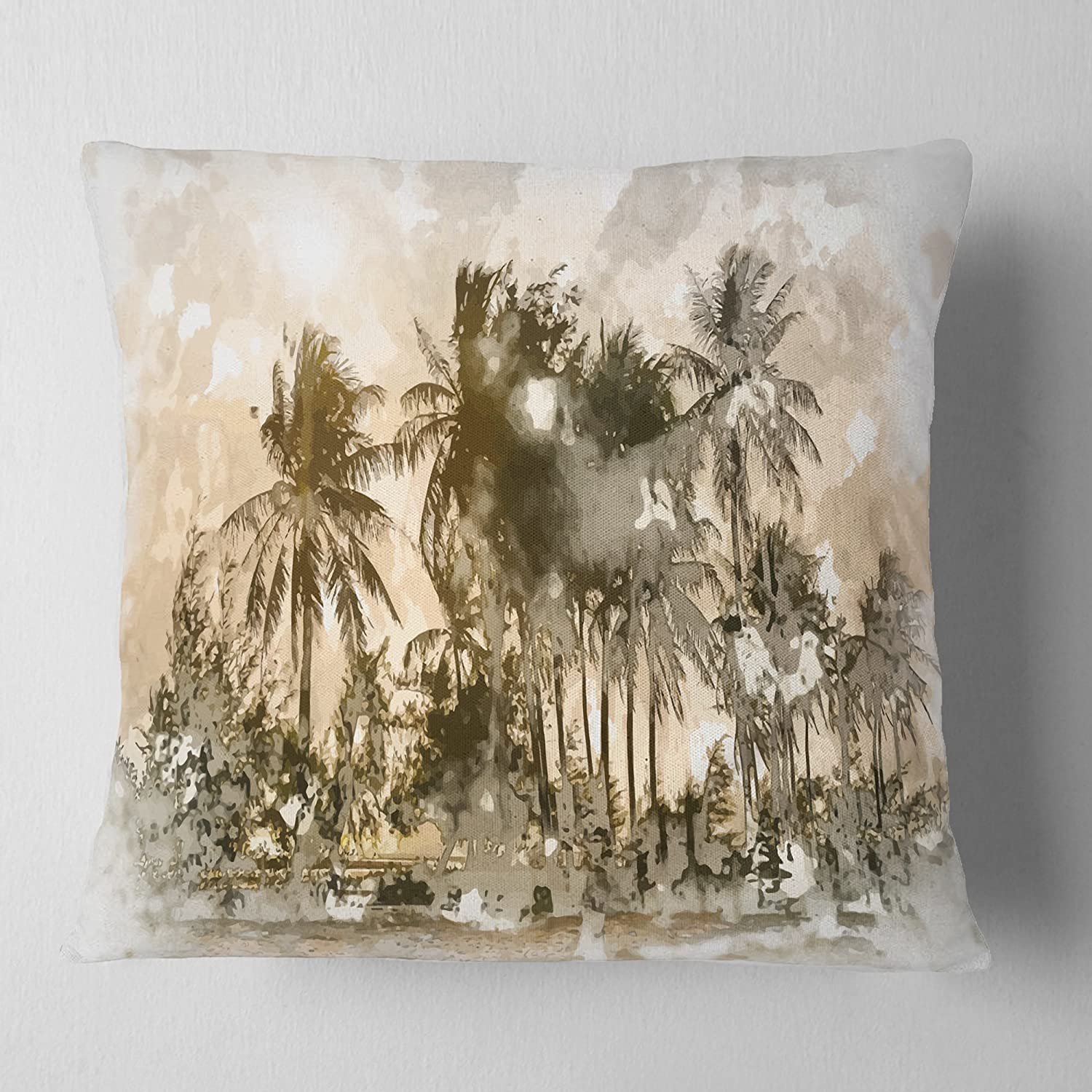 Designart CU7640-26-26 Dark Palms at Sunset' Landscape Printed Cushion Cover for Living Room, Sofa Throw Pillow 26 in. x 26 in. in