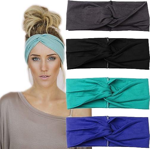 Womens Elastic Sport Yoga Headband Cotton Knot Turban Head Wrap Wide Hair Bands