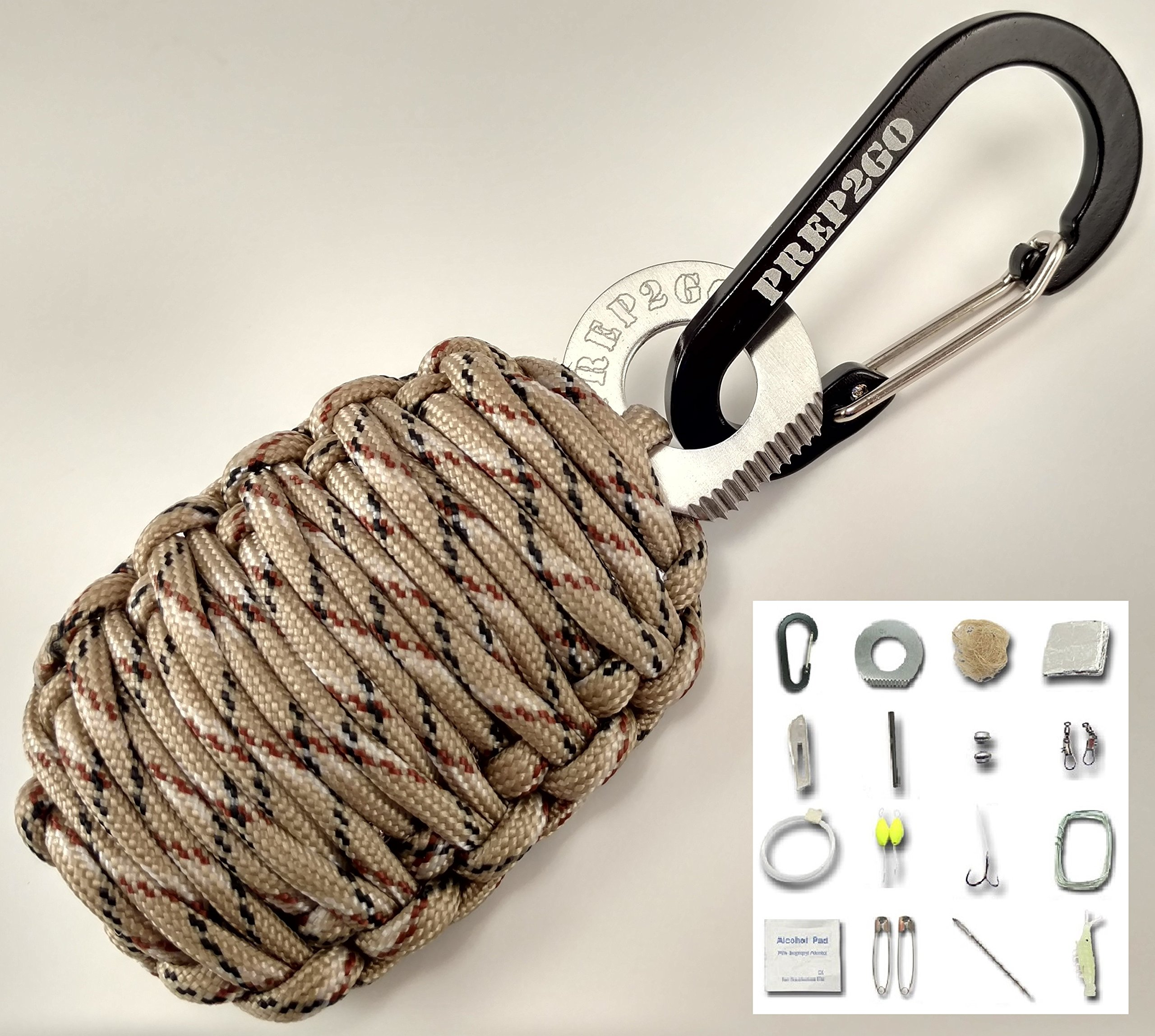 PREP2GO Paracord Boy Scout Survival Grenade Gift | Emergency (24pc) Kit Military Grade Wilderness Prepper Gear-Camping Hiking Hunting. Moms Feel Safe! Your Kids can get Food, Fire & Shelter When Lost