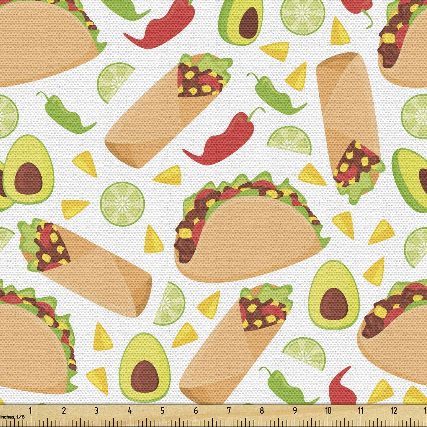 Lunarable Food Fabric by The Yard, Vibrant Pattern of Delicious Mexican Snacks Fruits Peppers and Nachos Spicy Burritos, Decorative Fabric for Upholstery and Home Accents, 1 Yard, Beige Green