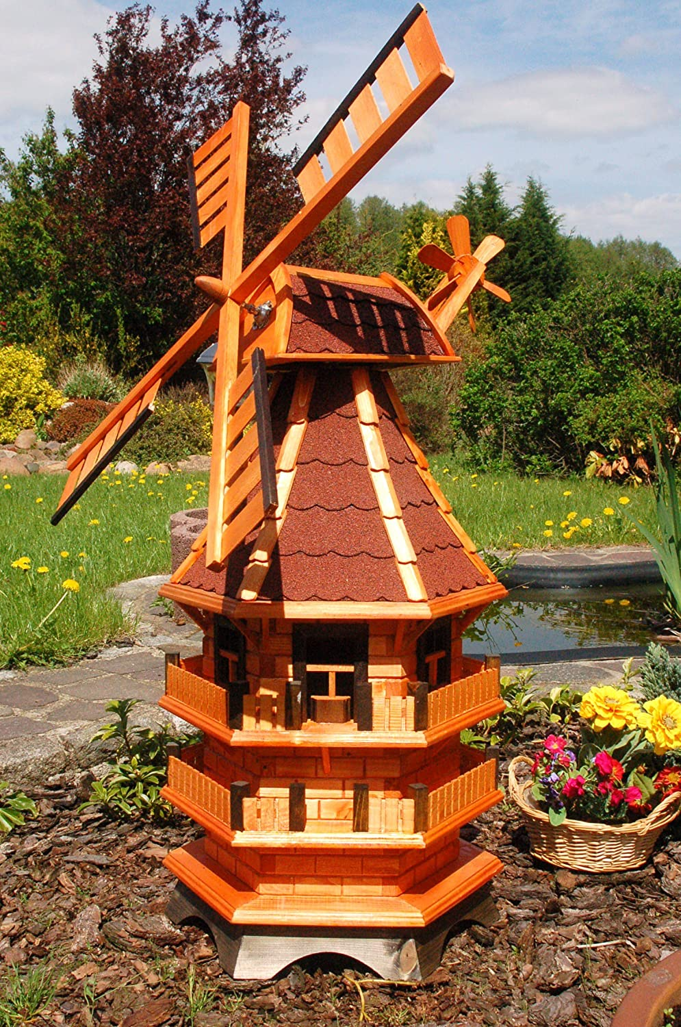 1.4M High Decorative Windmill With 3 Floors, Green Asphalt Tiles And Lighting Powered Via Solar Roof Deko-Shop-Hannusch