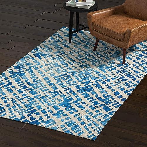 Rivet Modern Geometric Area Rug, 5 x 8 Foot, Blue
