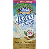 Blue Diamond Dairy Free Almond Breeze Almondmilk Blend, Unsweetened Almond Coconut Original, 32 Ounce (Pack of 12)
