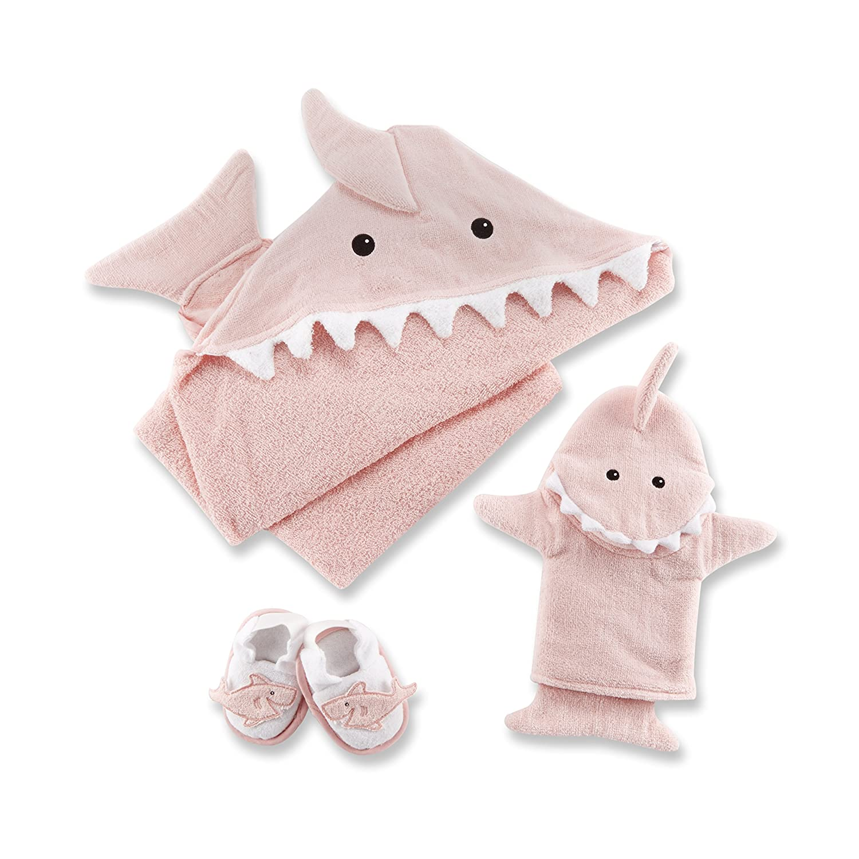 Baby Aspen Let The Fin Begin 4 Piece Bath Time Gift Set, Pink BA14037PK