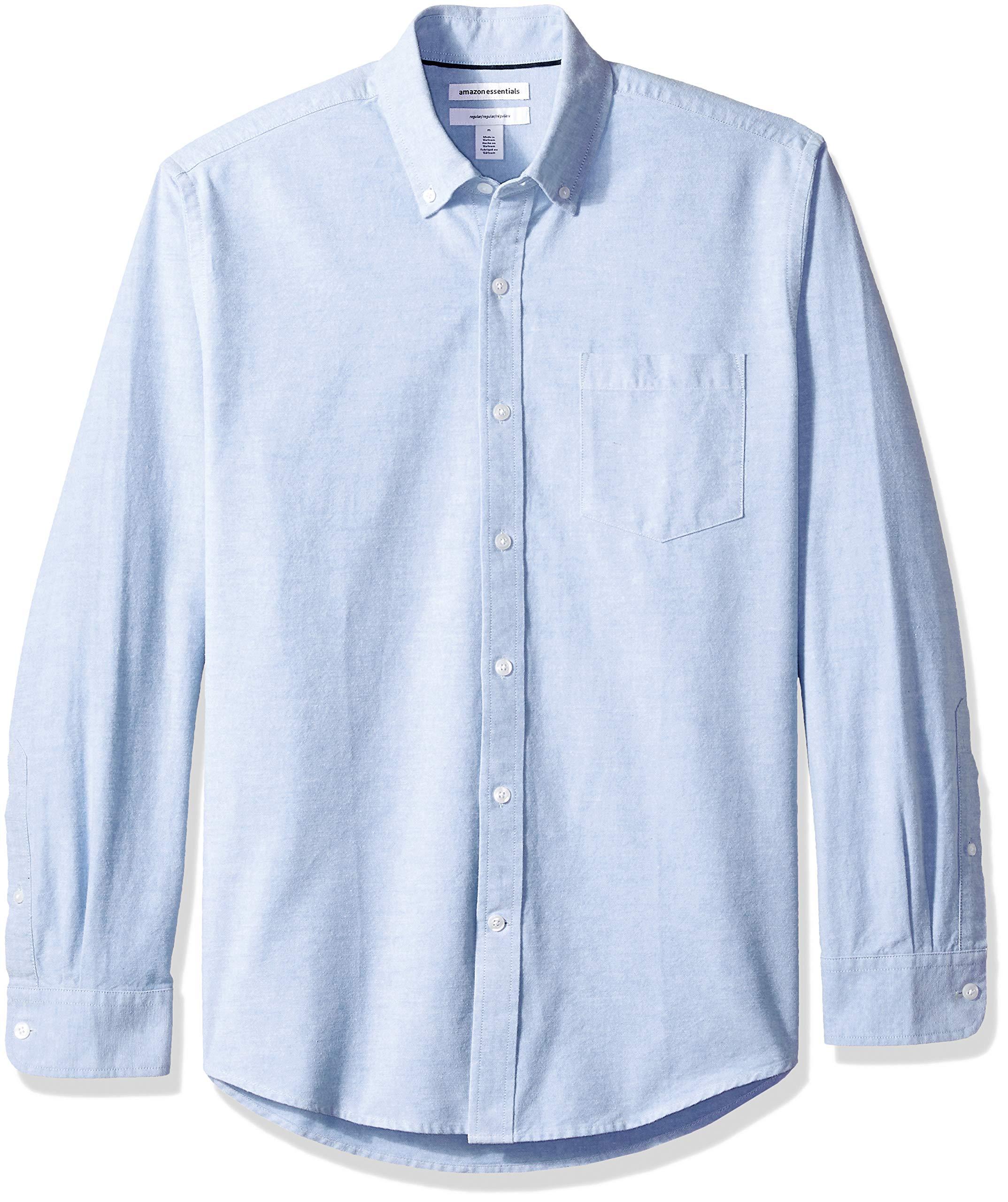 Essentials Regular-Fit Long-Sleeve Solid Pocket Oxford