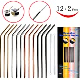 12+2 Pcs Reusable Stainless Steel Straws - Metal Straws - 4 Colors Gold, Silver, Rose Gold & Black - 20 oz & 30 oz Cold Beverage Tumblers Straws, Fits Yeti, RTIC, Ozark Trail Tumblers Cups
