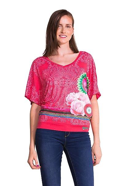 Desigual 50T24H7 - Camiseta, con manga corta, con cuello de pico para mujer,
