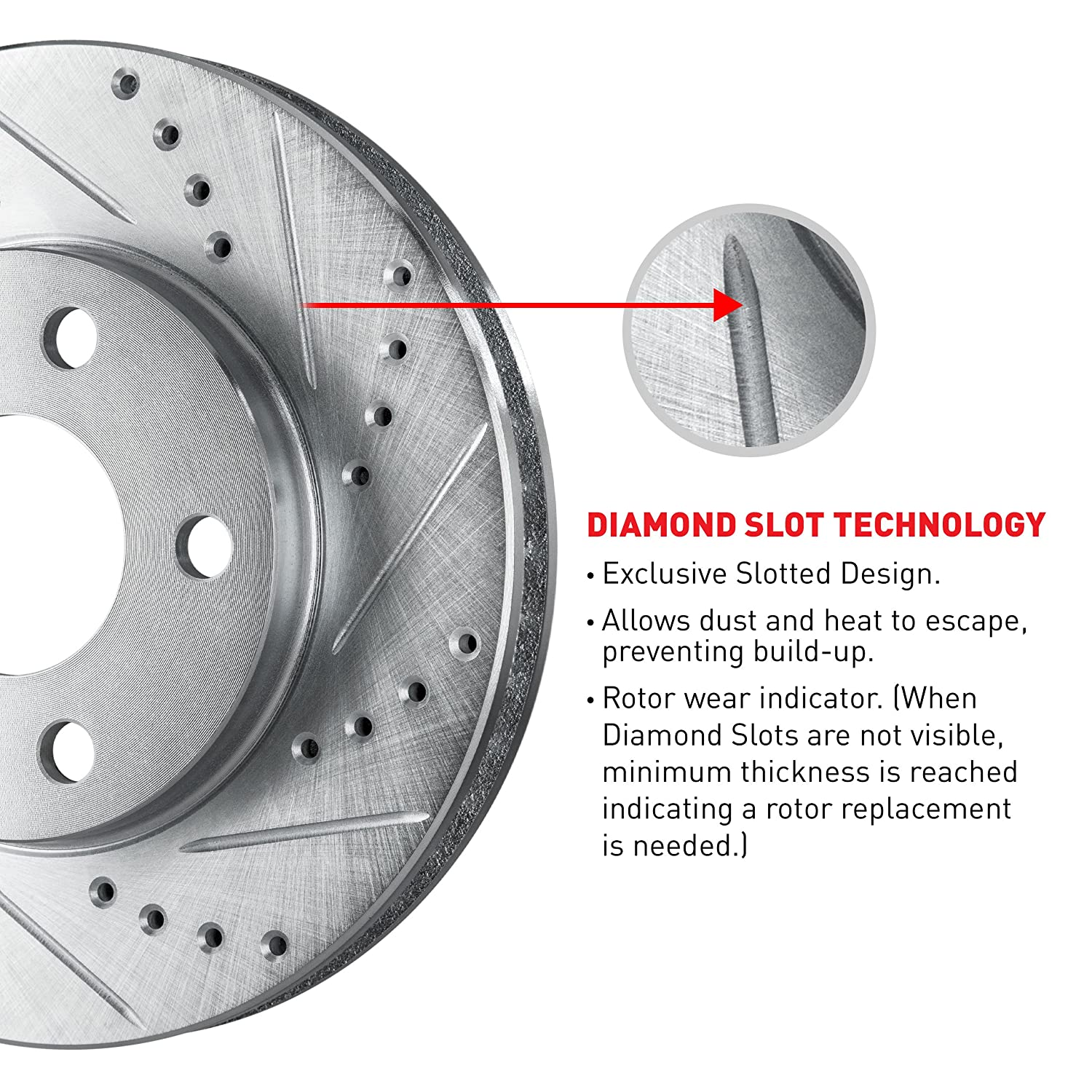Rear R1 Concepts KEDS11695 Eline Series Cross-Drilled Slotted Rotors And Ceramic Pads Kit