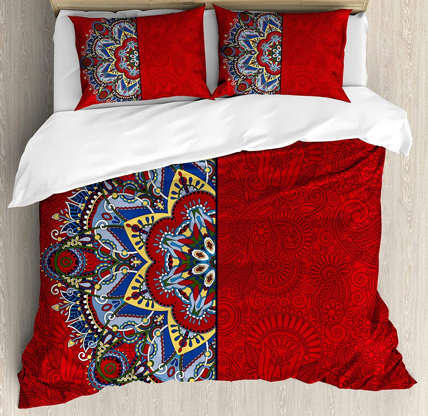 Ambesonne Red Mandala Duvet Cover Set, Ukranian Design Half Mandala with Swirls and Flowers Image, Decorative 3 Piece Bedding Set with 2 Pillow Shams, Queen Size, Burgundy White