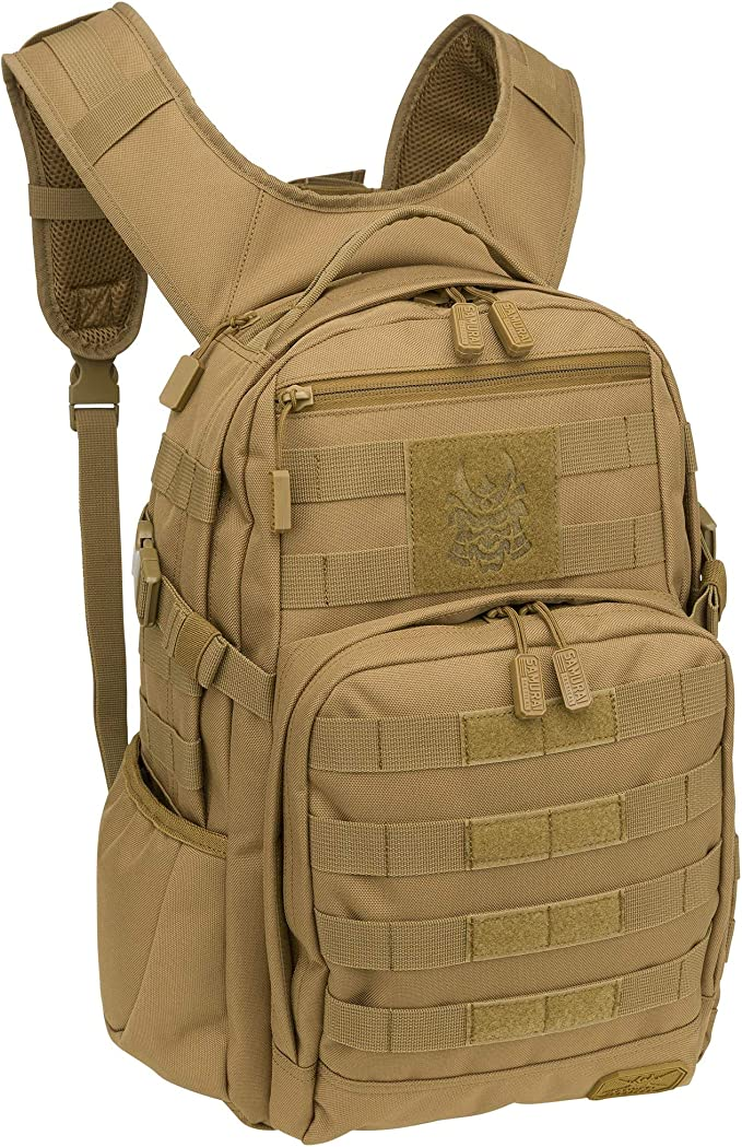 A photo of a brown tactical backpack with molle webbing straps on front, velcro tapes, shoulder strap extended out