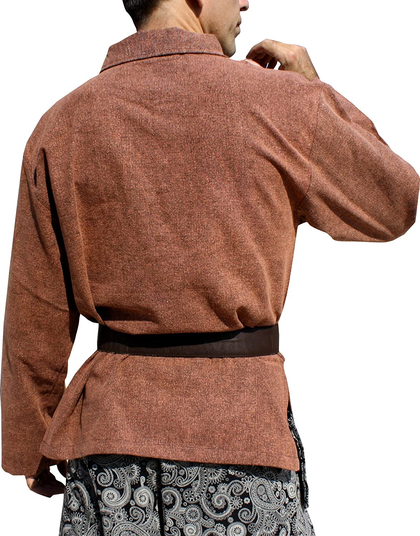 Svenine European Collar Long Sleeve Renaissance Swordsman Shirt Mixed Cottons