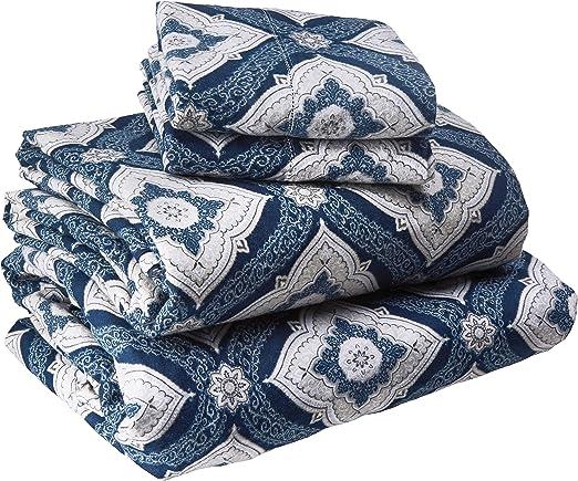 Tribeca Living 200 Gsm Damask Printed Deep Pocket Flannel Sheet Set Full Marwah Corporation Da200edssfudb Sheet Pillowcase Sets