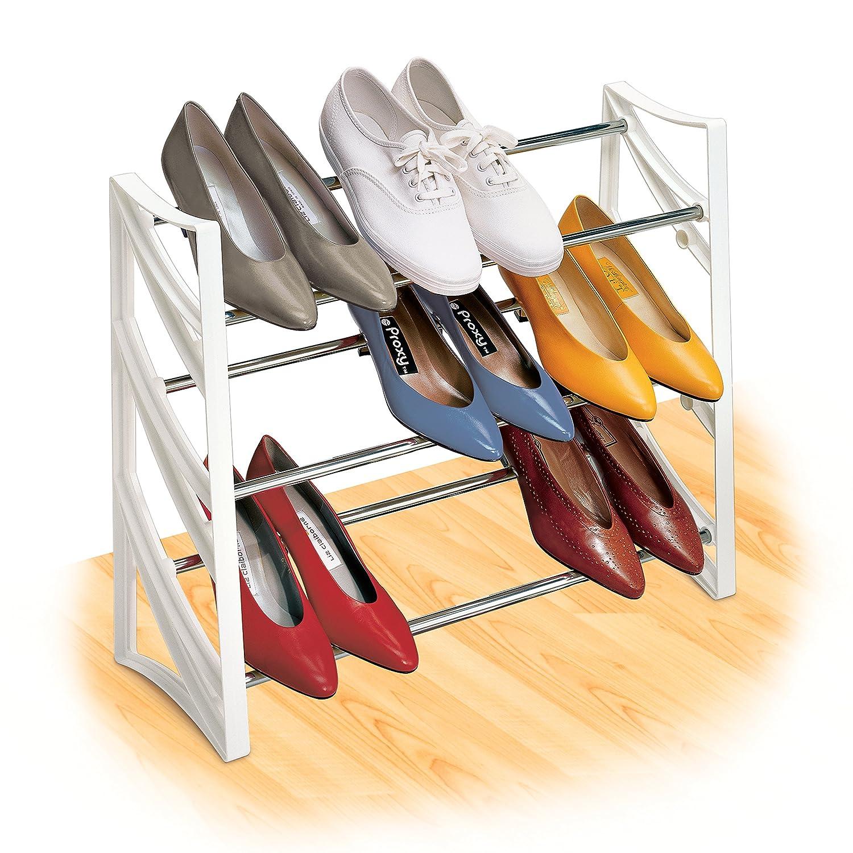 amazoncom lynk 9 pair convertible shoe rack organizer 3 tier closet shoe rack white home u0026 kitchen