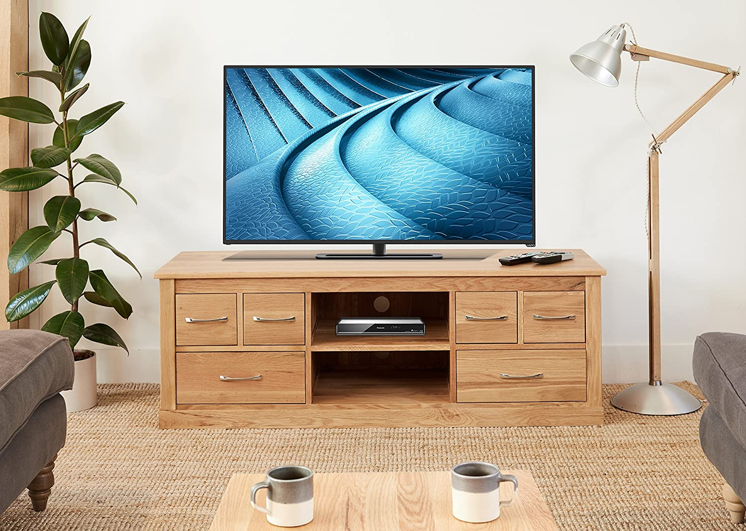 mobel solid oak reversible. Baumhaus Mobel Oak Widescreen Television Cabinet: Amazon.co.uk: Kitchen \u0026 Home Solid Reversible O