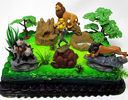 Lion King Birthday Cake Topper Set Featuring Lion King Figures and  Decorative Themed Accessories