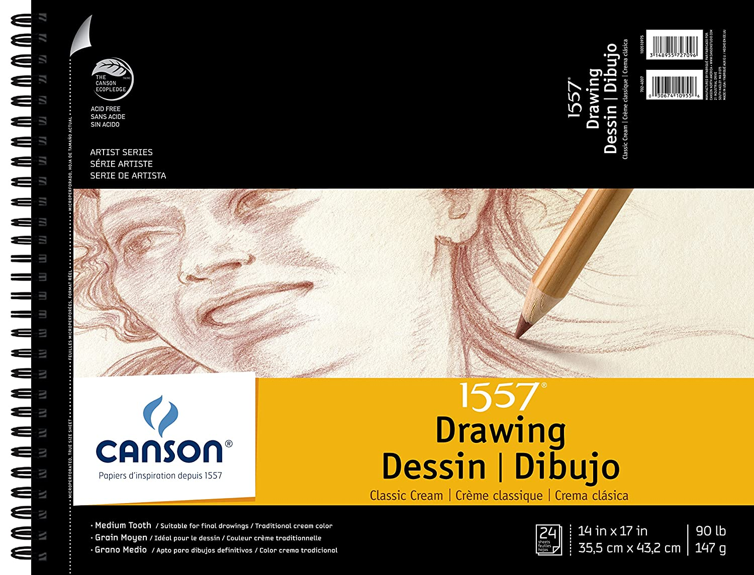 Canson Artist Series 1557 Cream Drawing Paper Pad for Pen, Ink and Graphite Pencil, Top Wire Bound, 90 Pound, 14 x 17 Inch, Cream, 24 Sheets CANSON Inc 100510975