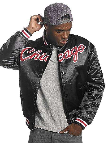 Mitchell & Ness Chicago Bulls NBA HWC Wordmark Satin Bomber College Jacket Jacke: Amazon.es: Ropa y accesorios