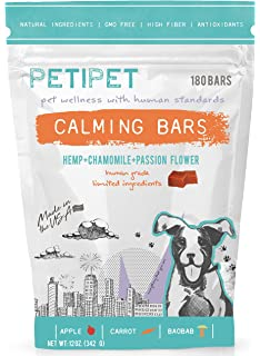 PETIPET Dog Calming Treats- Natural Dog Anxiety Relief Bars. Organic Hemp & Chamomile for