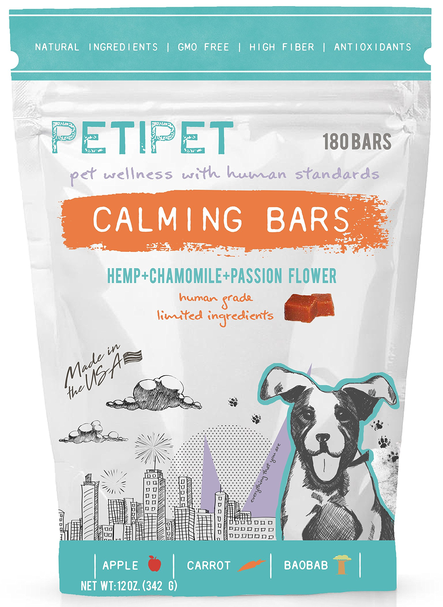 PETIPET Calming Bars Dog Treats - for Anxiety Relief - Formulated with Hemp, Chamomile, Passion Flower - Human-Grade Ingredients - Made in USA - 180 Count by PETIPET