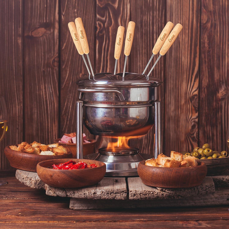 viande fruits et plus Lot de 6 fourchettes /à fondue en acier inoxydable r/ésistant /à la rouille avec poign/ées en bois pour fromage