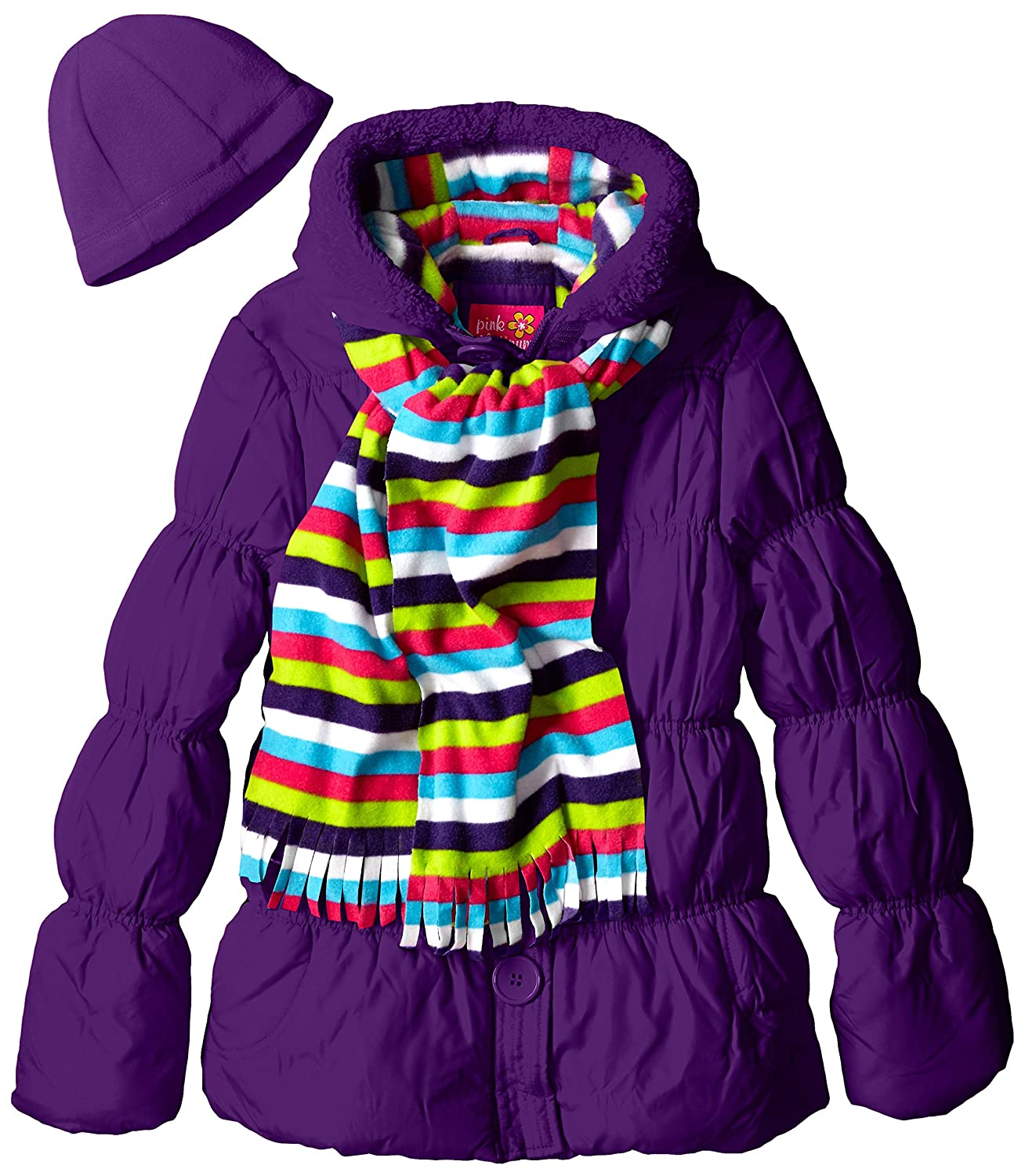 Pink Platinum Girls' Puffer Coat with Stripe Scarf and Hat Purple 4 Pink Platinum Girls 2-6x PP84112-PRP
