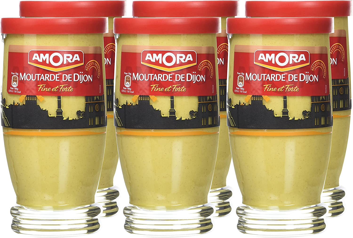 Amora Verre TV Moutarde Forte 300 g - Lot de 6: Amazon.fr: Epicerie