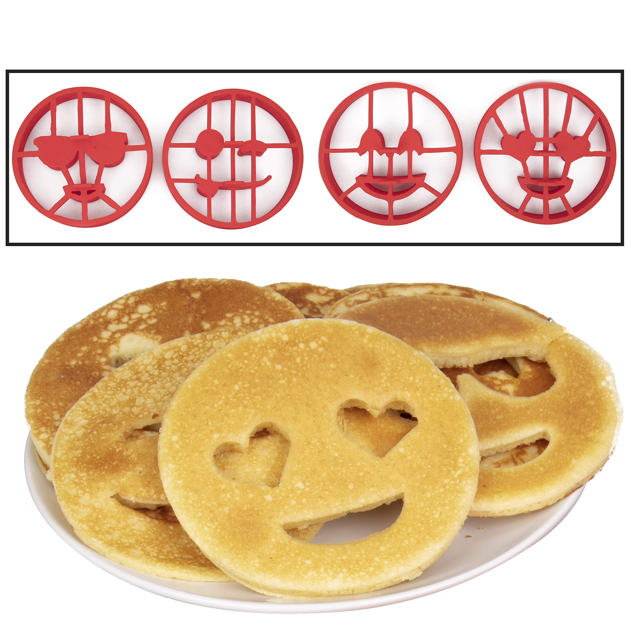 Emoji Pancake Molds and Egg Rings (4 Pack) for Kids AND Adults - Reusable Silicone Smiley Face Maker Doubles as Cookie Maker Set- FDA Approved, BPA Free, Food Safe, Heat Resistant Silicone by Good Cooking (Image #3)