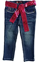Squeeze Little/Toddler Girls' Embroidered Denim Jeans with Sequin Belt