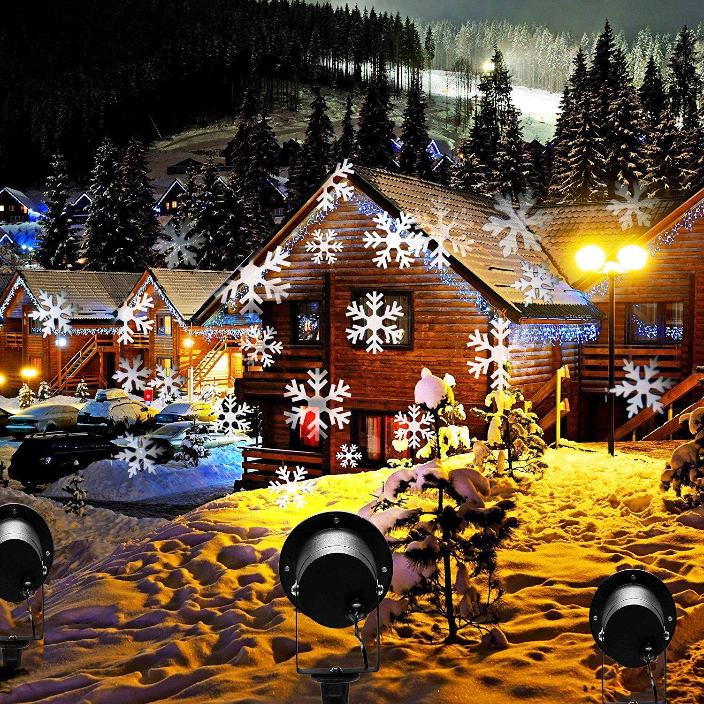 Christmas Lights Outdoor.Christmas Lights Outdoor Projector Prodeli Led Snowflake Light Waterproof Landscape Lamp Motion Sparkling Snowfall For Indoor Outside Garden Party