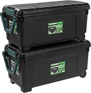 Remington 2 Piece Heavy Duty Rolling Storage Trunk Set, Black
