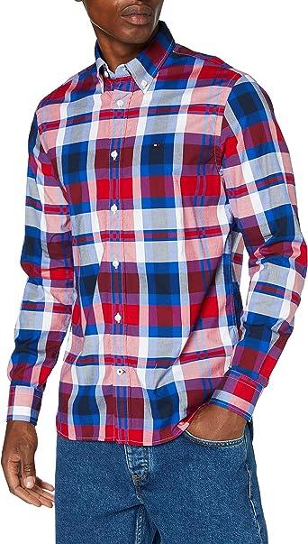 Tommy Hilfiger Flex Bright Midscale Check Shirt Camisa, Rojo ...